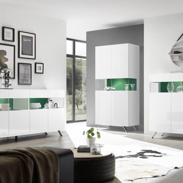 01_Glamour Weiss_Wohnen_Sideboard 4T__Hochschrank 2T_Highboard 3T