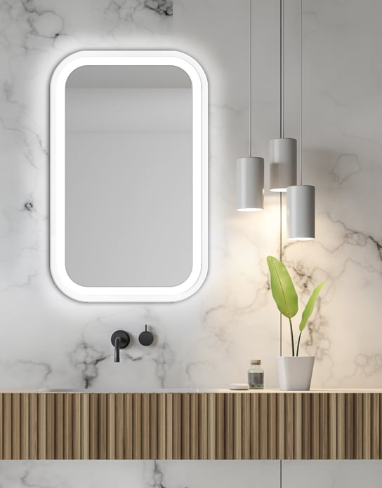 Wooden bathroom interior with a white tub, double sinks and mirrors and a tree in a pot. Side view. 3d rendering mock up